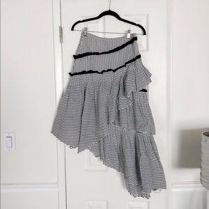 Love Sam striped asymmetrical ruffle skirt